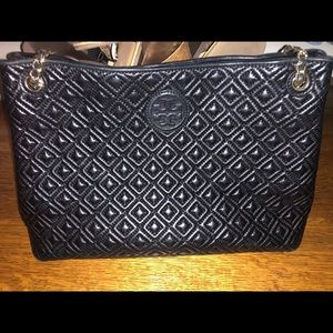 Tory Burch Marion black quilted leather tote